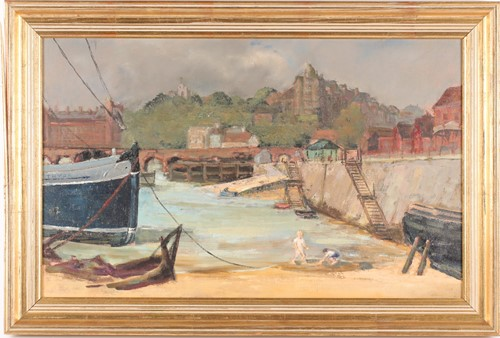 Lot 43 - 20th century British school, a harbour scene...
