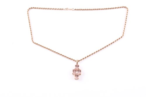 Lot 97 - A 9ct yellow gold and morganite pendant, set...