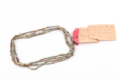 Lot 84 - An Egyptian style mummy bead necklace,...