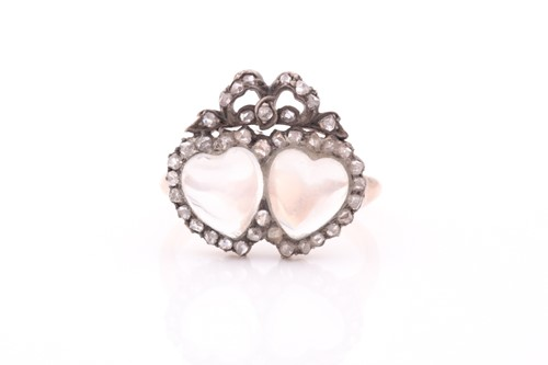 Lot 77 - An antique diamond and moonstone double heart...