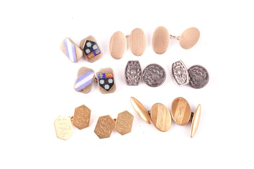 Lot 23 - A pair of 18 carat gold cufflinks; the...