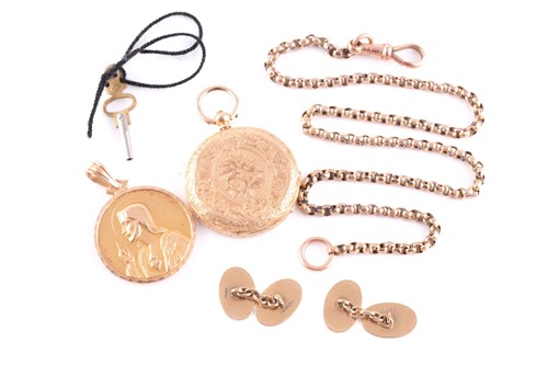 Lot 65 - A yellow metal pendant depicting the Virgin...
