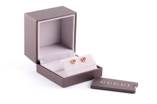 Lot 37 - Gucci. A pair of 18ct yellow gold stud...