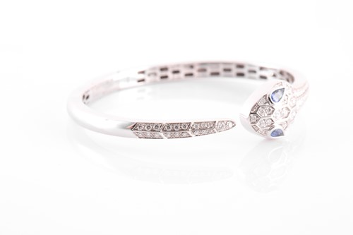 Lot 132 - Bulgari. An 18 carat white gold, sapphire and...