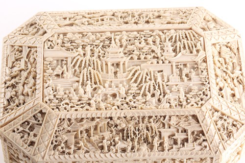 Lot 258 - A Chinese Canton ivory sewing box, Qing, mid...