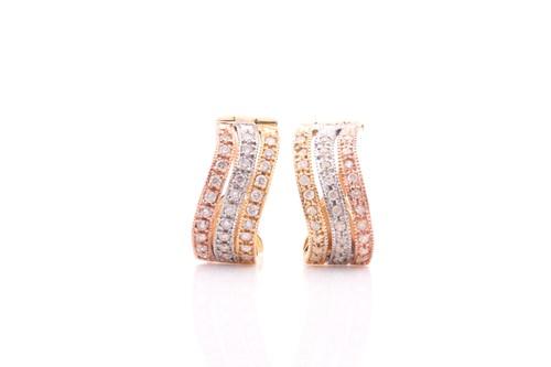 Lot 35 - A pair of tri-coloured diamond hoop earrings,...