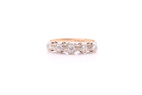 Lot 33 - A five stone half hoop diamond ring; the...