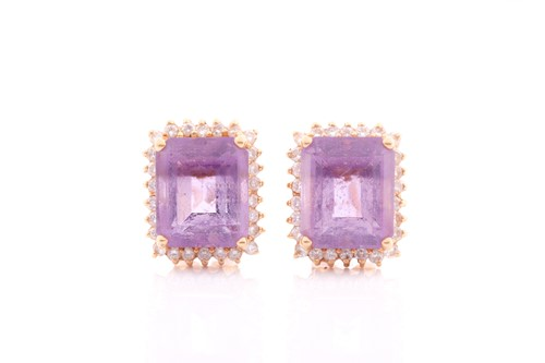 Lot 26 - A pair of amethyst and diamond earrings, set...