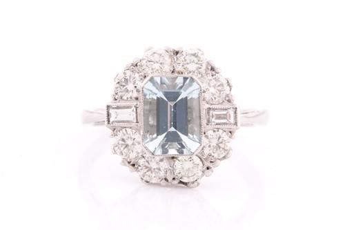 Lot 31 - A platinum, diamond, and aquamarine ring, set...