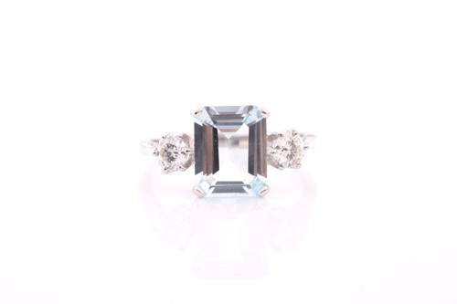 Lot 4 - A platinum, diamond, and aquamarine ring, set...