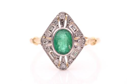 Lot 34 - A yellow metal, diamond, and emerald ring, set...