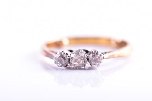 Lot 22 - A yellow metal and old-cut diamond ring, set...