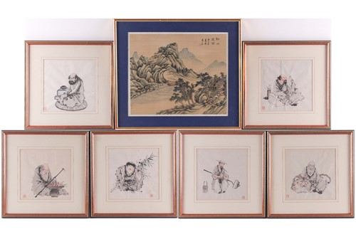 Lot 8 - A set of six Chinese Taoist immortals, early...