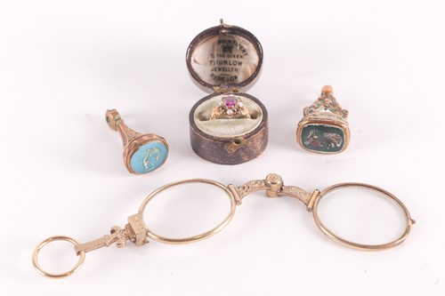 Lot 7 - A 19th century yellow gold and gem-set ring,...