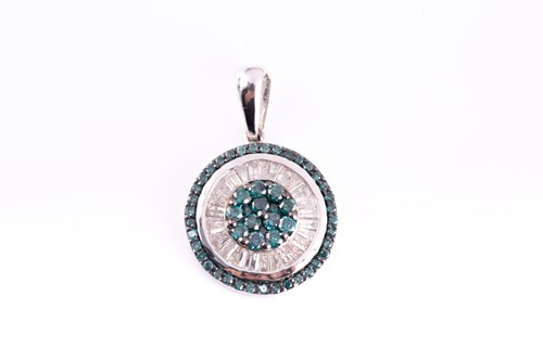 Lot 45 - A 9ct white gold and diamond pendant, the...