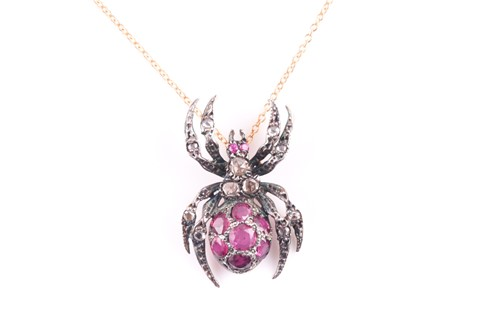 Lot 29 - A silver gilt, diamond, and ruby spider...