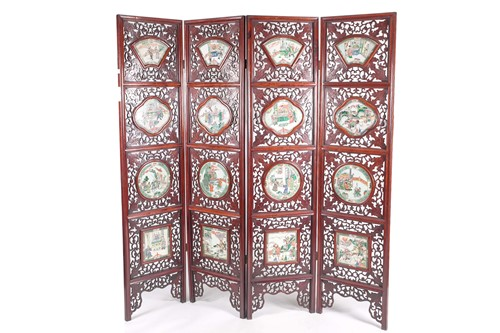 Lot 39 - A Chinese folding room divider with famille...