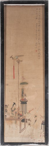 Lot 19 - A Chinese family interior scene, Qing, 19th...
