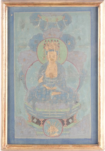 Lot 2 - A Chinese gouache painting on silk of...