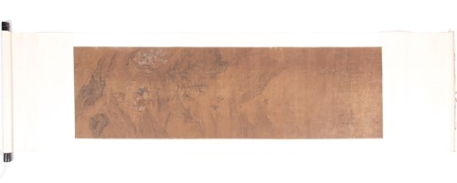 Lot 11 - A Chinese silk scroll painting, Qing, 18th...