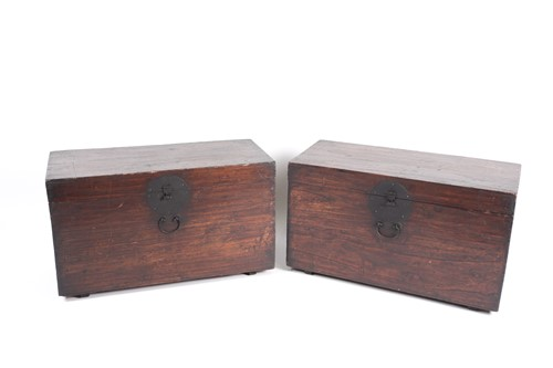 Lot 43 - A pair of Korean hardwood dowry chests, late...