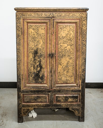 Lot 44 - A Thai lacquered and gilt decorated cabinet,...