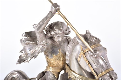 Lot 225-A fine 19th century white metal figure group of ...