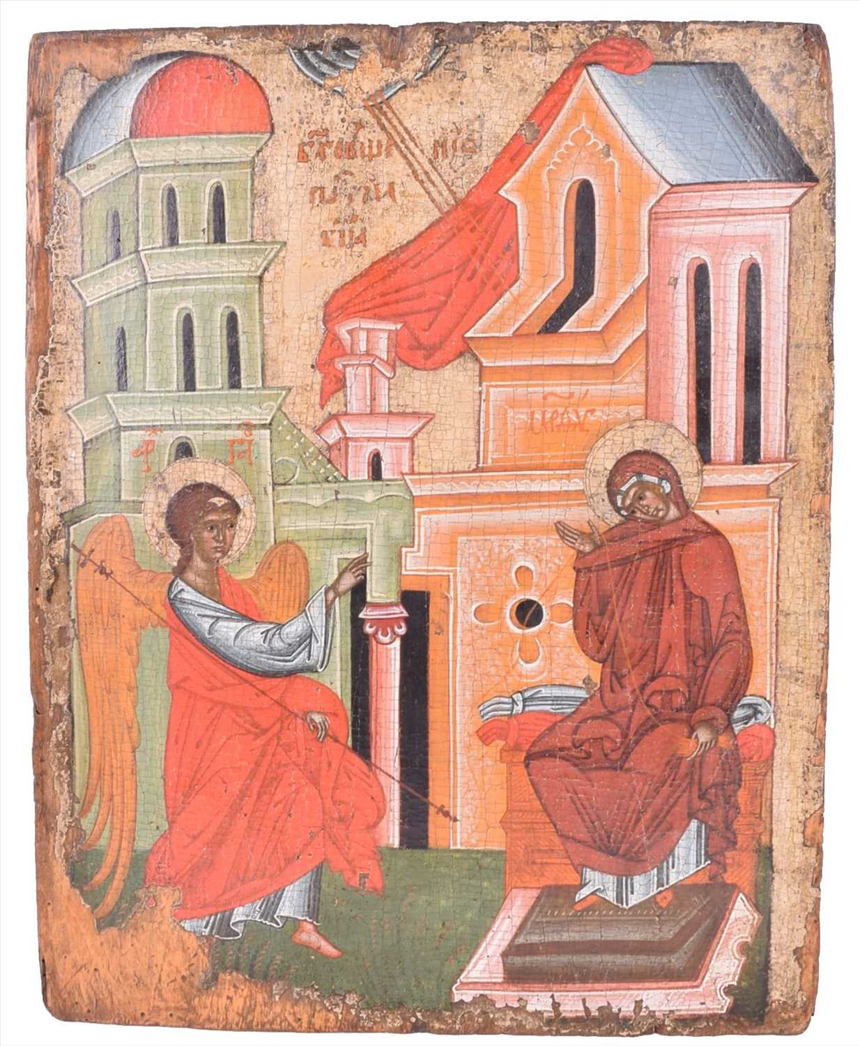 Lot 297 - An 18th century Russian icon, the annunciation...