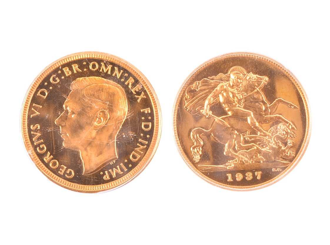 Lot 105 - GEORGE VI, 1936-52. PROOF SOVEREIGN, 1937 Obv:...