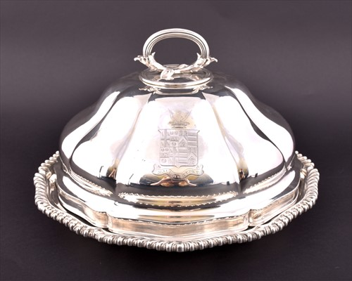 Lot 182-A William IV silver entreé dish and cover...